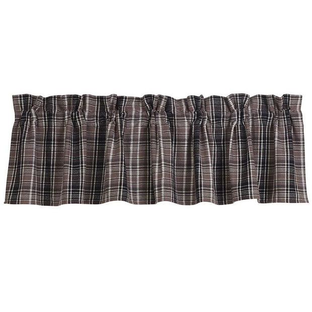 Whistler Kitchen Valance w/ Black & Gray Plaid