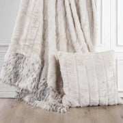 White Faux Mink & Snow Leopard Oversized Throw Blanket, 50x80