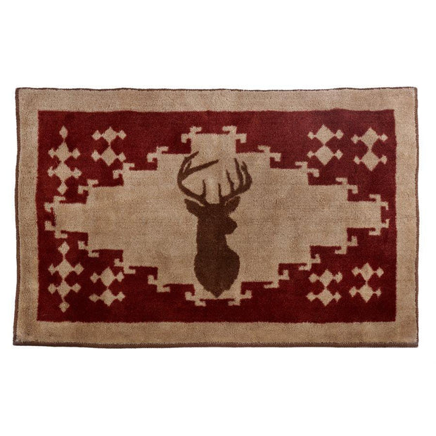 White-Tail Deer Burgundy Kitchen/Bath Rug