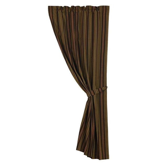 Wilderness Ridge Single Panel Curtain w/ Red & Chocolate Stripes