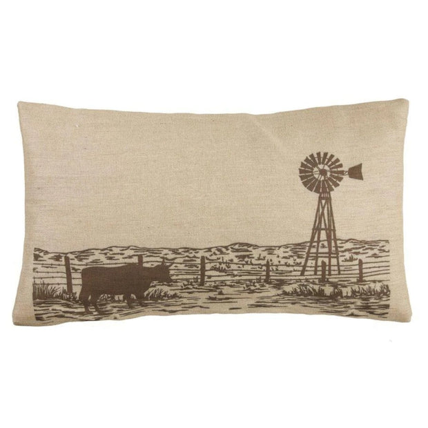 Windmill Burlap Lumbar Pillow