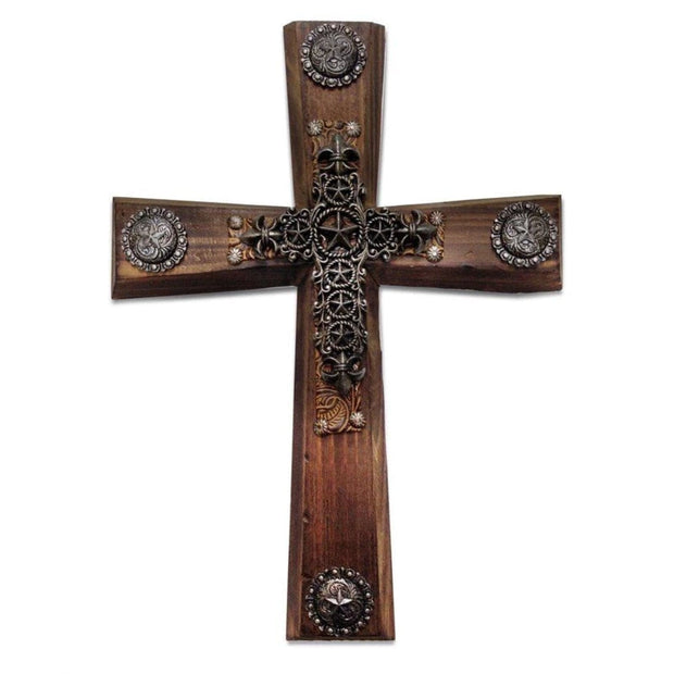 Wood Cross Wall Decor w/ Star & Concho Overlay