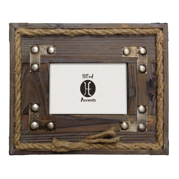 Wood w/ Metal Stripes & Rope Picture Frame, 4x6