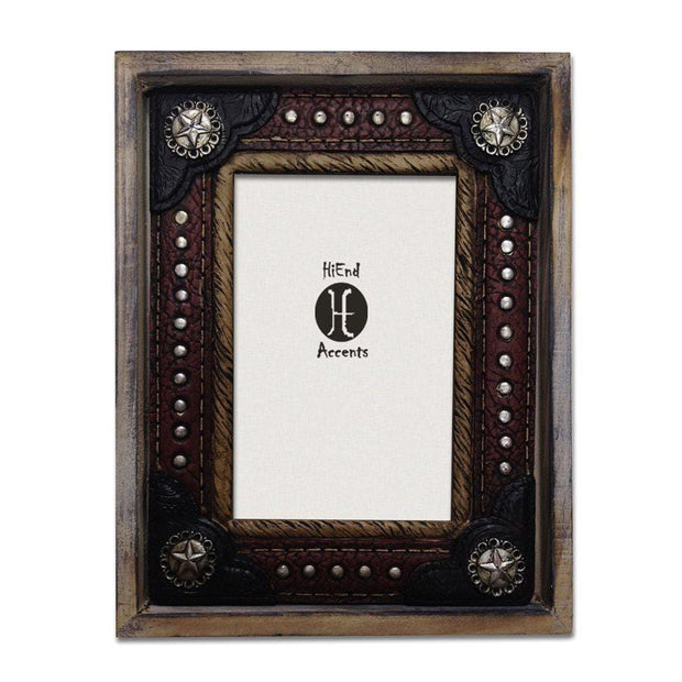 Wood w/ Resin Leather Insert Picture Frame, 4X6