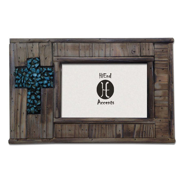 Wood w/ Turquoise Rock Cross Picture Frame, 4x6