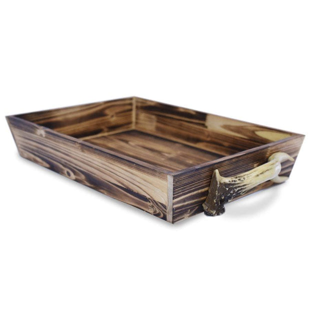 Wooden Serving Tray w/ (Faux) Antler Handles