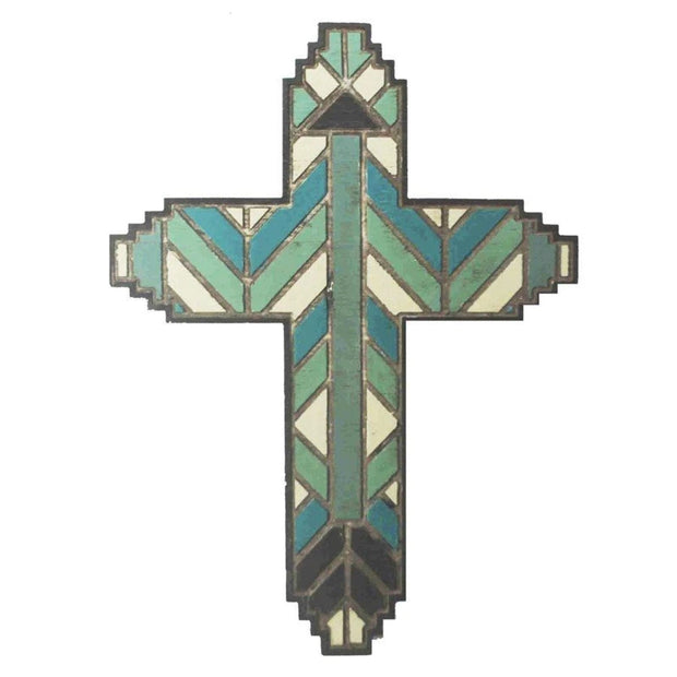Wooden Stained Glass Design Cross Wall Decor