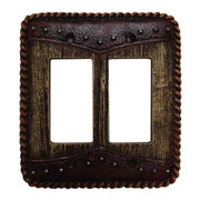 Woodgrain w/ Double Yoke Double Rocker Wall Switch Plate