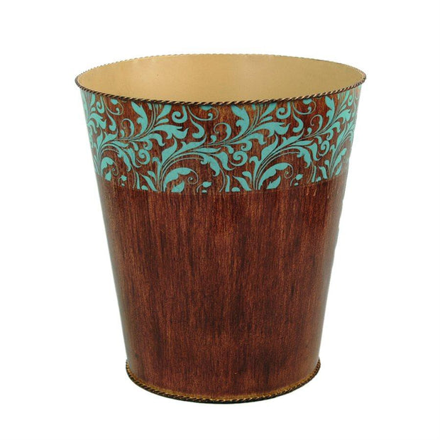 Wyatt Bathroom Wastebasket, Brown & Turquoise