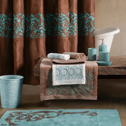 Wyatt Shower Curtain w/ Turquoise Scrollwork