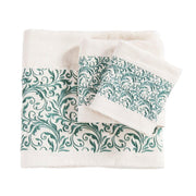 Wyatt Turquoise Scroll 3-PC Bath Towel Set, Cream