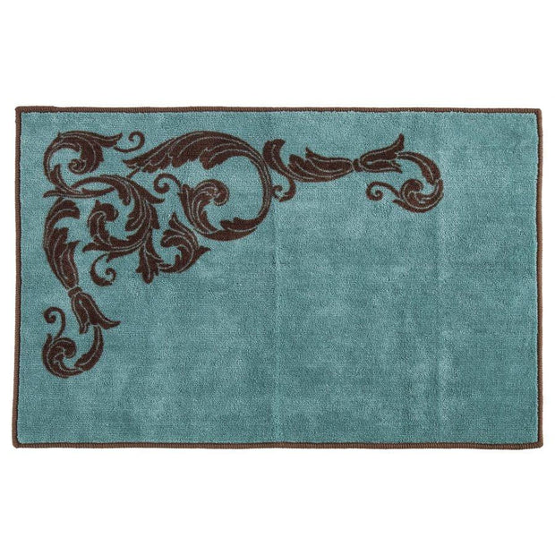 Wyatt Turquoise Scrollwork Kitchen/Bath Rug