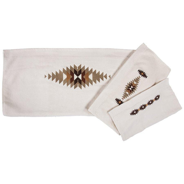 Yosemite Embroidered 3-PC Bath Towel Set, Cream