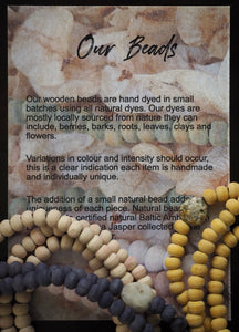 Natural Dyed Wooden Beaded Hoop earrings colours