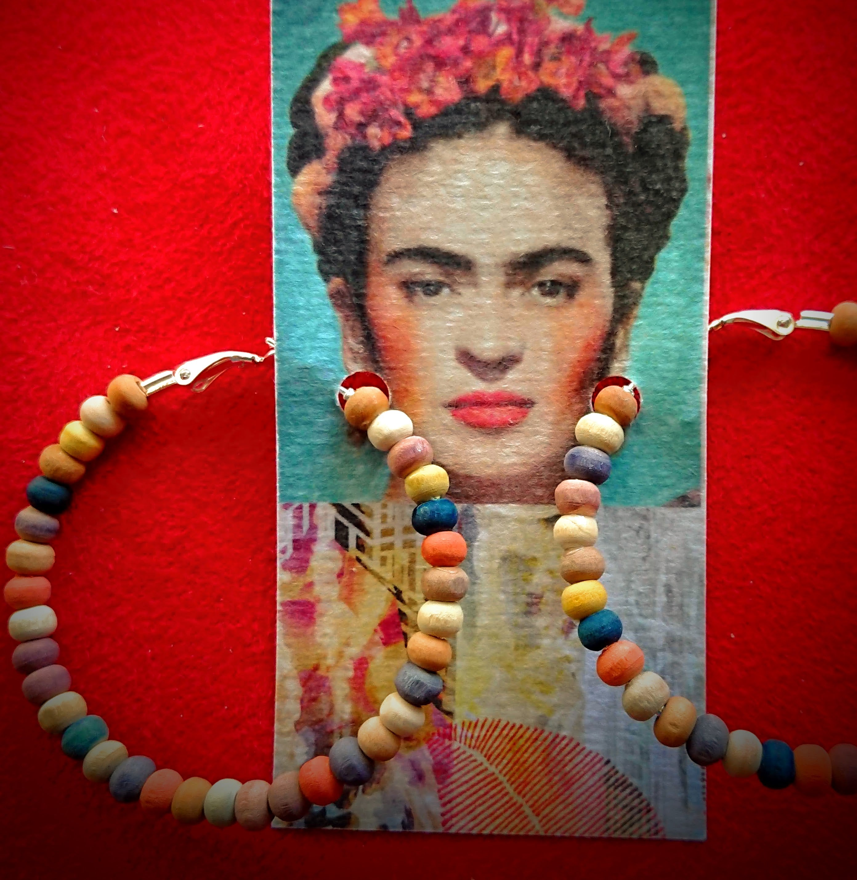 A Little Bit Frida Hand Dyed Wood Bead Hoop Earrings Festive mexico Frida Kahlo