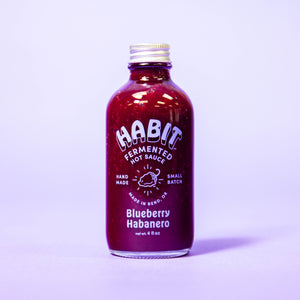 Blueberry Habanero Habit Hot Sauce, 4 fl oz, now raw, probiotic, vegan. and gluten-free.