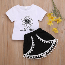 Load image into Gallery viewer, Toddler Girl Clothes Summer Sets 2019 Sunflower T Shirts Tops Tassel Shorts Children Clothing For Baby Girls 1 2 3 4 5  Years