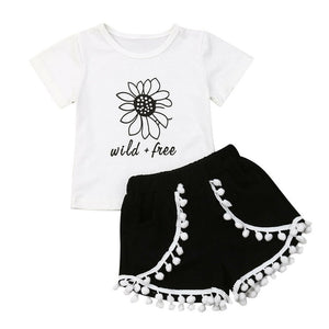Toddler Girl Clothes Summer Sets 2019 Sunflower T Shirts Tops Tassel Shorts Children Clothing For Baby Girls 1 2 3 4 5  Years