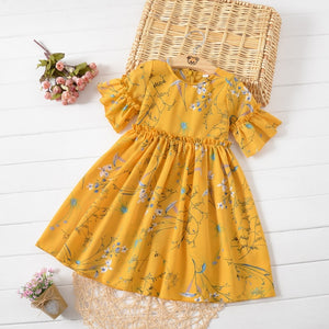 Summer Girls Suit 2019 Kids Clothing Set Teen Toddler Baby Kid Girl Ruched Floral Flower Skirt Princess Dresses Casual Clothes