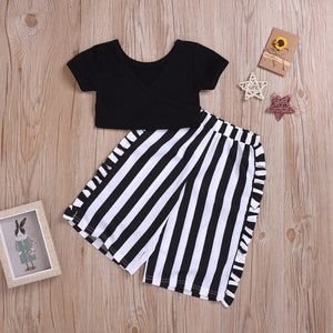 2PCS Toddler Kids Baby Girl Fashion Clothes Short Sleeve Black Crop Tops+Striped Wide Leg Pant Trouser Outfits Clothing Set 1-6Y