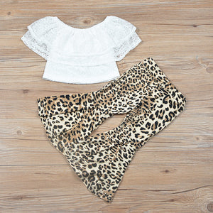 2019 Summer New Toddler Kids Girl Off shoulder White Lace Tops Shirt+Leopard Flare Pant Bell-bottom Fashion 2PCS Clothing Set