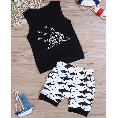 Kids Boys Clothes 2019 Summer Cartoon Shark Print Vest T Shirt Tops+Shorts Boy Clothes Set Infant Baby Boys Clothing 1 2 3 Years