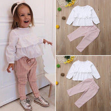 Load image into Gallery viewer, Cute Children Kids Baby Girls Clothes Ruffle Long Sleeve Tops T shirt Blouse with Plaid Pants Leggings Outfits 2Pcs Clothing Set