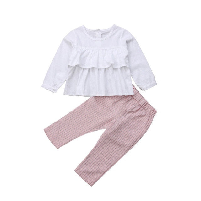 Cute Children Kids Baby Girls Clothes Ruffle Long Sleeve Tops T shirt Blouse with Plaid Pants Leggings Outfits 2Pcs Clothing Set