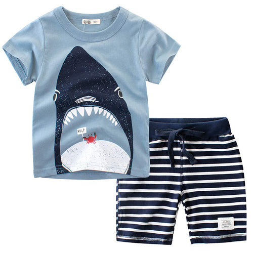 2019 Summer Kids Baby Boys Clothes Sets 2pcs Cartoon Children Clothing T Shirt Short Pants Sport Suit Outfit 1 2 3 4 5 6 7 Years