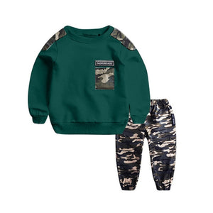 2PCS Boy Set Clothing Teen Kids Baby Boys Letter Tracksuit Camouflage Tops Pants Outfits Set Roupa Menino Toddler Boy Clothes