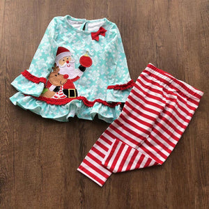 Christmas Kids Baby Girl Santa Dress Tops Striped Pants Set Outfits Xmas Clothes Christmas Clothes Set  children's clothing