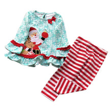 Load image into Gallery viewer, Christmas Kids Baby Girl Santa Dress Tops Striped Pants Set Outfits Xmas Clothes Christmas Clothes Set  children's clothing