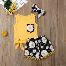 Load image into Gallery viewer, 2019 Summer Girls Clothes Sunflower Bow Top Tassel Shorts Hairband Baby Toddler Girl Outfits Children Clothing Set 1 2 3 4 Years