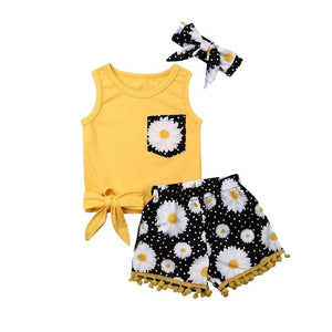 2019 Summer Girls Clothes Sunflower Bow Top Tassel Shorts Hairband Baby Toddler Girl Outfits Children Clothing Set 1 2 3 4 Years