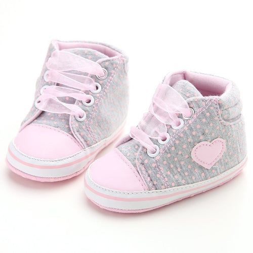 Infant Newborn Baby Girls Polka Dots Heart Autumn Lace-Up First Walkers Sneakers Shoes Toddler Classic Casual Shoes New