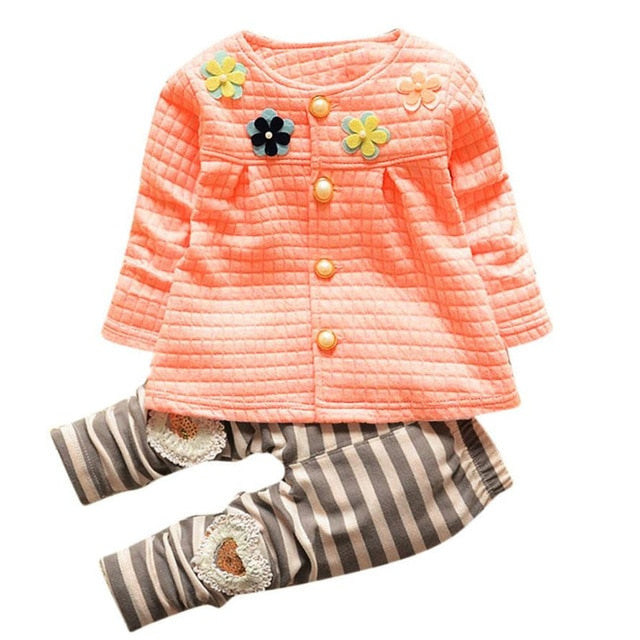 3 Colors Fashion Baby kids Girls Warm Cotton Flower Long Sleeve Cardigan+Long Pants Clothing Sets Hot 2017 drop shipped ST27