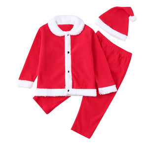 Boys Girl Christmas Clothes Newborn Baby XMAS Fleece Tops Pullover Pants Hat 3Pcs Toddler Kids Winter Costume Clothing Set 1090