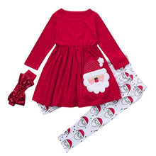 Load image into Gallery viewer, 3PCS Toddler Autumn Kid Girl Boy Clothes Christmas Long Sleeve Cartoon Print Top Pants Headband Girls Outfits Kids Clothing