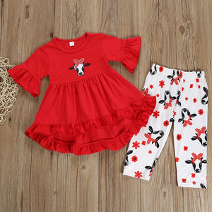 Toddler Girls Clothes Set 2019 Summer Baby Children Ruffle Blouse Tops+Floral Pants Kids Girl Clothing Set 2 3 4 5 6 7 Years