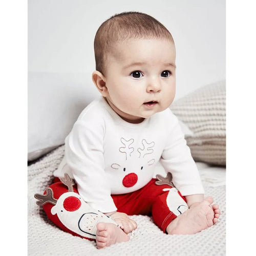 Cute Infant Baby Boys Girls Clothes Cartoon Christmas XMAS Deer Romper Long Sleeved O-neck Jumpsuit Pants Clothing Outfits Set