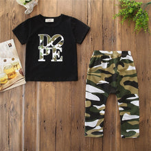 Load image into Gallery viewer, Boy Gentleman kids Wear Toddler Clothes Boys Autumn Outfit King Print Top Camouflage Shorts Two Piece Set 2019 kid Clothing D30