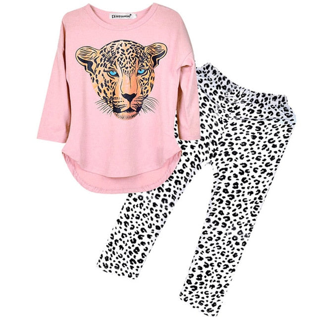 Girl Clothes Winter Toddler Kids Sets Leopard Long Sleeve Costume Outfit Suit Children Clothing 5 6 7 8 9 10 12 Years Teen 19Aug