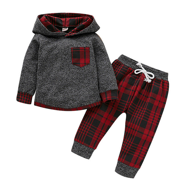 winter kids clothes boys cotton full sleeve Plaid Hooded Pullover Tops Pants fashion boutique kids clothing roupa infantil