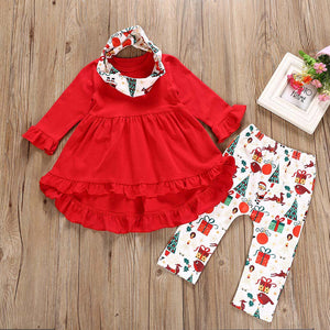 Toddler Kid Girl Clothes Long Sleeve Casual Solid Top Print Pants Girls Outfits With Headband Kids Clothing For Girls Sets