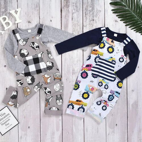 kids boys clothes winter cotton Cartoon Plaid Jumpsuit+Solid T-shirts Top Outfit boutique kids clothing fashion full sleeve 1-5Y