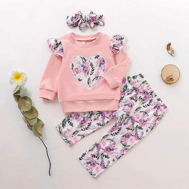Child Clothing Sets Toddler Baby Girl Long Sleeve Ruffles Love Print Tops Floral Pants Outfits Hairband Autumn Winter Cloth C50#