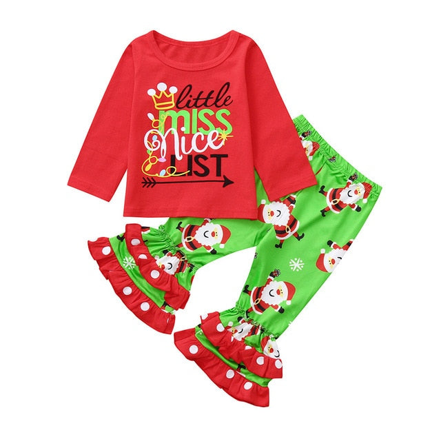 Toddler Kid Girl Boy Clothes Fashion Long Sleeve Cartoon Letter Print Christmas Girls Outfits Kids Clothing For Girls Sets