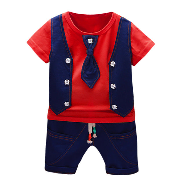 2019 Summer Kids Boys Clothes Gentleman Suit For Baby Boy Children Clothing Set 2pcs T Shirt Shorts Pants Outfit 1 2 3 Years