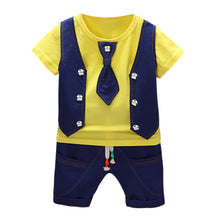 Load image into Gallery viewer, 2019 Summer Kids Boys Clothes Gentleman Suit For Baby Boy Children Clothing Set 2pcs T Shirt Shorts Pants Outfit 1 2 3 Years