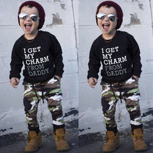 Load image into Gallery viewer, Toddler Boys Clothing Set Letter Long Sleeve T Shirt Tops+camouflage Pants Autumn Winter Children Kids Outfits Clothes Sets